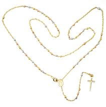 """18K YELLOW ROSE WHITE GOLD 20.5"""" ROSARY NECKLACE MIRACULOUS MEDAL CROSS image 7"""