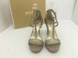 Michael Kors Simone Women Evening Platform High Heels Sandals 6.5 Silver Glitter image 7