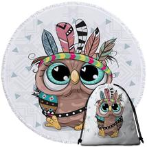Sweet Native American Baby Owl Beach Towel - $12.32+