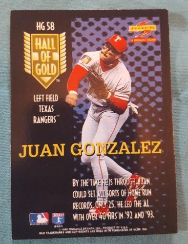 1995 Score Hall of Gold #HG58 Juan Gonzalez Texas Rangers Baseball Card