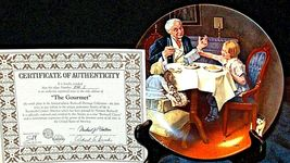 "1984 ""The Gourmet"" by Norman Rockwell Plate with Box ( Knowles ) AA20-CP2282 Vin image 7"
