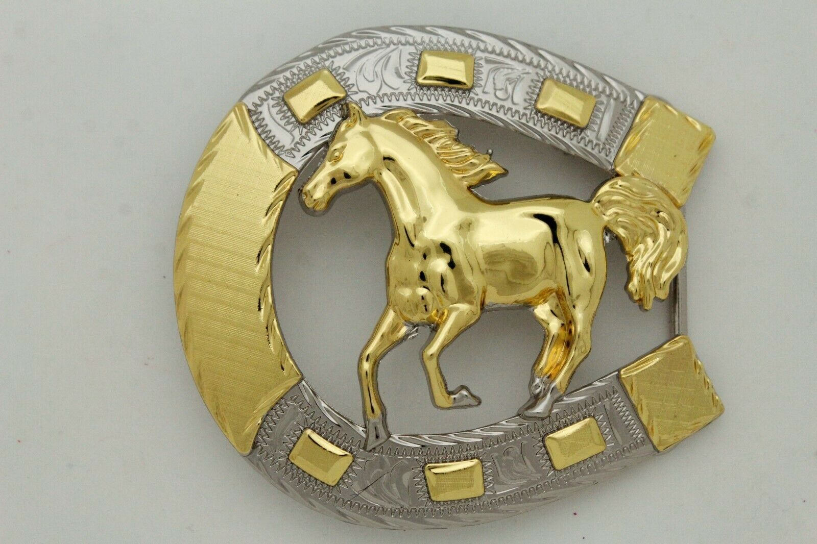 Hombre Western Cowboys Cinturón Hebilla Metal Plateado Caballo Rodeo Detalle