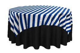 Square Satin Table Overlay Royal Blue/White Striped, Satin Overlay 90 inch  - $33.98