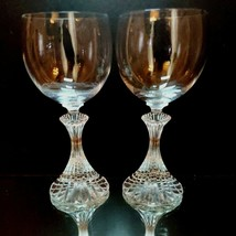 2 (Two) MIKASA THE RITZ Cut Crystal Wine Glasses 6 1/2 in DISCONTINUED - $23.74
