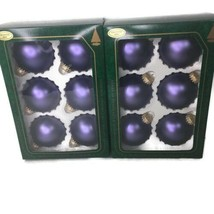 12 Vintage Glass Christmas By Krebs Ball Ornaments Frosted Iris Purple  - $13.99