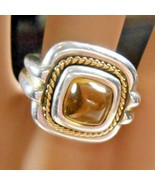 Tiffany & Co Citrine Sugarloaf Ring 18K 750 Yellow Gold & Sterling Silver - $548.29