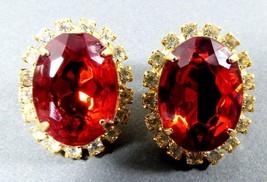 Vtg Gold Tone Metal Ruby Red & Clear Crystal Rhinestone Oval Earrings - $32.82
