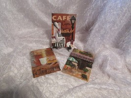 ceramic 3d wall plaque set of 3 depictiong CAFES, BEVERAGES approx 6.5 x... - $28.05