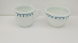 Vintage Pyrex Corning White Snowflake Garland Creamer and Sugar Set - $14.84