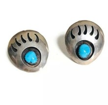 """Vintage Native Sterling Large Bear Paw Turquoise Earrings 1 1/8"""" Wd3 - €23,36 EUR"""