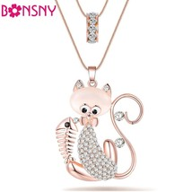 Cat Necklace Long Pendant  Brand Crystal Chain New 2015 Zinc Alloy Girl Women Fa - $12.99