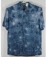 Island Shores Men's Medium Blue Button Up Hawaiian Shirt Palm Trees (E6) - $16.83