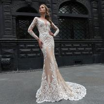 New Style Elegant Satin Lined Long Sleeve Lace Illusion Mermaid- Trumpet Bridal  image 5