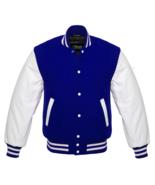 Unisex Varsity Letterman Jacket Royal Blue Wool with White Real Leather ... - $87.00
