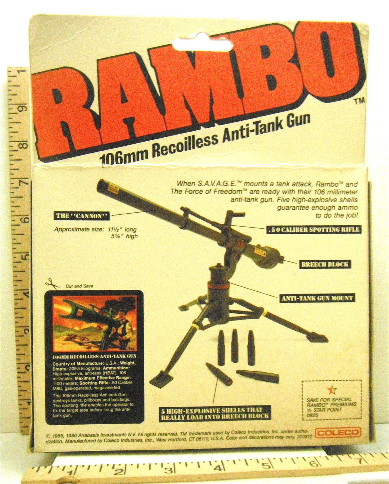 1986 Coleco Rambo 106mm Recoilless Anti Tank Gun Sealed Box
