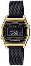 Casio LA690WEMB-1B Women's Vintage Youth Gold Tone Black Mesh Band Alarm Chronog - $57.00