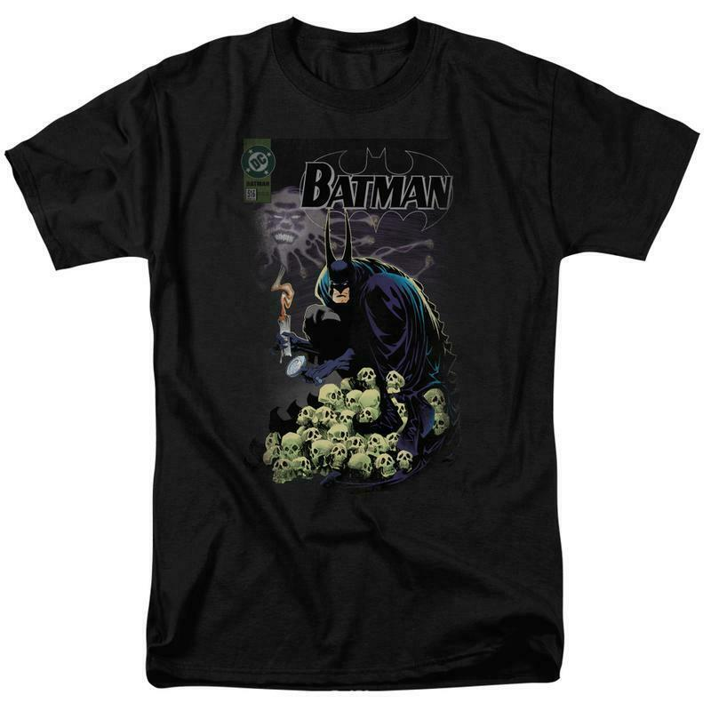 Batman t-shirt DC Comic book Superhero skulls graphic cotton tee BM1843