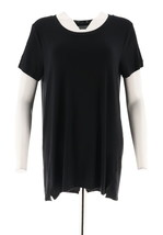 H Halston Essentials Short Slv Scoopneck Knit Tunic Black M NEW A289385 - $21.76