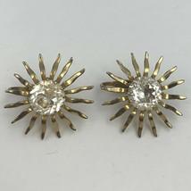 Vintage Sarah Coventry Sunburst Clip On Earrings Gold Tone Clear Rhinestone Sun - $17.77