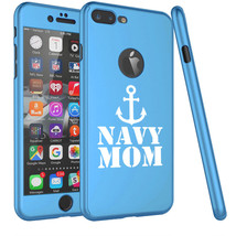 For Apple iPhone 360° Thin Slim Case Cover Glass Screen Protector Navy Mom - $14.99