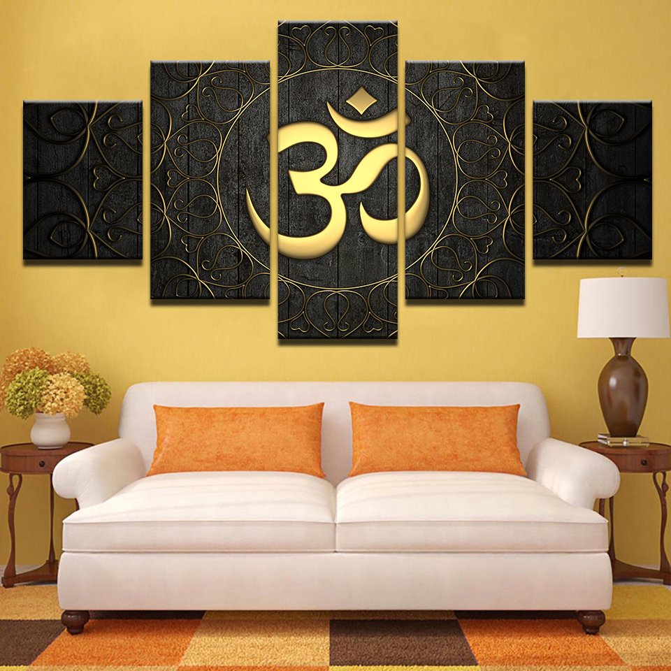 Framed 5 Piece Buddha OM Symbol Painting Print Poster