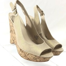 Nine West Women's Shoes Platform Wedge Slingback Sandals Style Massie 7.5M Cork - $24.88