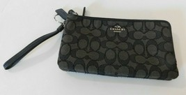 Coach Black Signature Zippy Wallet Wristlet - $49.49