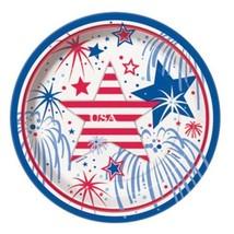 "USA Fireworks July 4th 8 Ct 7"" Dessert Plates Memorial Veterans Day - £2.79 GBP"