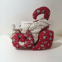 Red Christmas Cat Kitty Kitten Stuffed Shelf Sitter Handmade  - $19.34