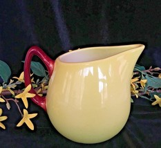 Vintage RARE Hull Pottery Pitcher, Lime Yellow With Brown Handle Cream, ... - $23.36