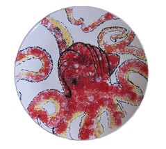 "Blue Sky Clayworks Octopus Ceramic Dinner Plate Round Platter 11.25"" D, Red - $29.70"