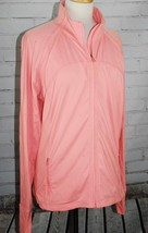 GAP FIT Full Zip Seamed Jacket XL Activewear Neon Peach Mock Neck Thumb ... - $42.57