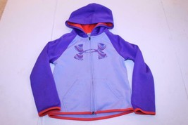Youth Girls Under Armour Sz 6 Hooded Zip Up Sweatshirt Purple & Red - $12.19