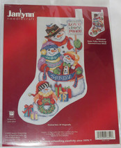 Snowman Family Stocking Kit Snow Folks Counted Cross Stitch Love Joy Peace New - $26.72