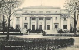 Elizabeth New Jersey~Masonic Temple~1940s Sepia Litho Postcard - $5.00