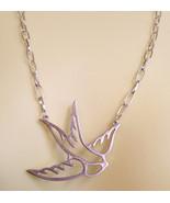 big bird necklace silver chain animal handmade jewelry #jewls5004 - $5.99
