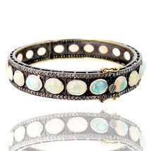 Opal Gemstone 14k Gold Bangle Bracelet 925 Sterling Silver Pave 2.75 Ct ... - $1,213.23
