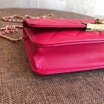 100% AUTH CHANEL HOT PINK Caviar Leather WOC Wallet on Chain WOC Bag GHW image 6