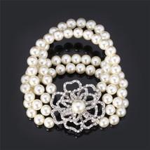 Fashion Women Bracelet Multi-layer White Pearl Platinum Pearl Classic Gift - $26.93