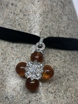 vintage Baltic Amber Cross Choker 925 Sterling Silver Necklace - $143.55