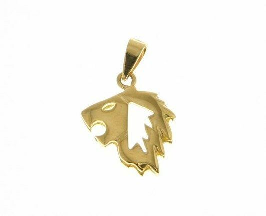 SOLID 18K YELLOW GOLD ZODIAC SIGN PENDANT, ZODIACAL CHARM, LEO MADE IN ITALY