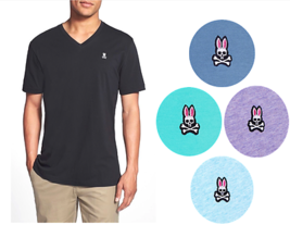 New Psycho Bunny By Robert Godley Men's Premium Pima Cotton V-Neck T-Shirt Shirt
