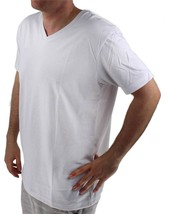 NEW GIOBERTI MEN'S PREMIUM ATHLETIC CLASSIC V NECK T-SHIRT TEE WHITE VN-9503 image 2