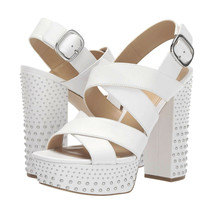 Michael Kors Mila White Studded Leather Strappy Platform High Heel Pumps 9.5 NIB - $133.16