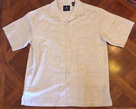 Men's Caribbean Joe Shirt Size M Tan 100% Silk Short Sleeve Button Front - $19.99