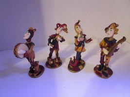 "Antique Colors Court Jester 5"" Figures Playing Instruments Set of 4 NEW - $14.02"