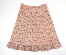 Gap Womens Pink Broomstick Skirt Size 8 Paisley Print ruffle bottom  - $14.01