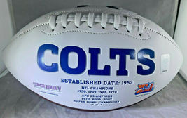 PEYTON MANNING / AUTOGRAPHED INDIANAPOLIS COLTS WHITE FOOTBALL / MANNING HOLO image 2