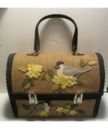 Vintage lunch box purse  burlap / felt birds - $104.50