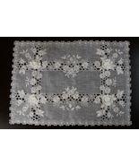 "1 Pcs 16x54"" Rectangular Beige Organza Embroidery Flower Silver Placemat... - $32.17"